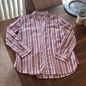 Striped button down long sleeve top shirt like new